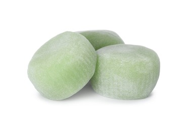 Delicious mochi on white background. Traditional Japanese dessert