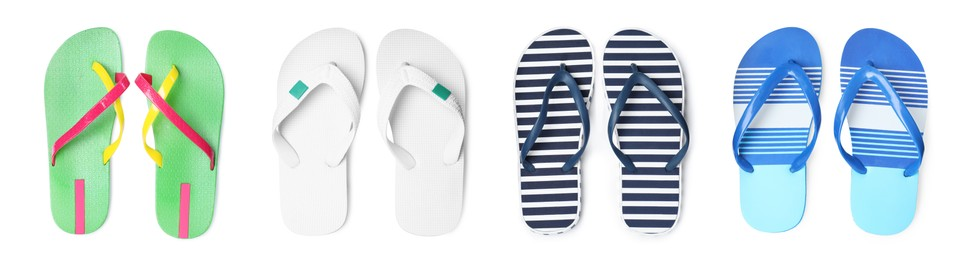 Set with different flip flops on white background, top view. Banner design