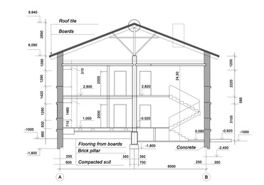 Architectural house plan house on white background. Illustration
