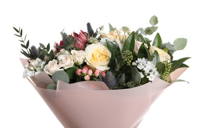 Beautiful bouquet with roses isolated on white
