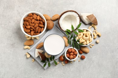 Vegan milk and different nuts on light table, flat lay