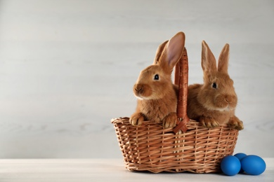 Cute bunnies, basket and Easter eggs on white table. Space for text