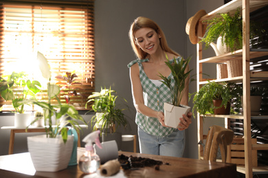 Young woman with beautiful plant at home. Engaging hobby