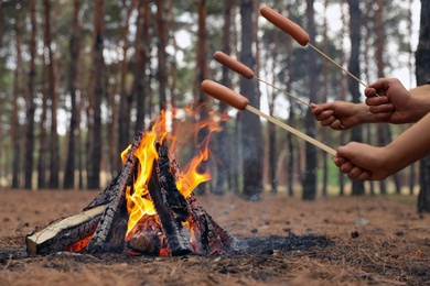 People roasting sausages over burning firewood in forest, closeup