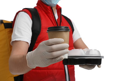 Courier in protective gloves with drink and food order on white background, closeup. Food delivery service during coronavirus quarantine