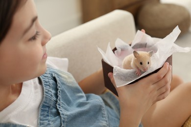 Little girl holding box with hamster at home, closeup