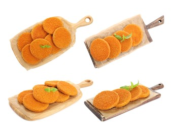Set with tasty fried breaded cutlets on white background