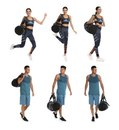 People with sports bags on white background, collage