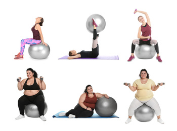 Collage of women with fitball doing exercises on white background