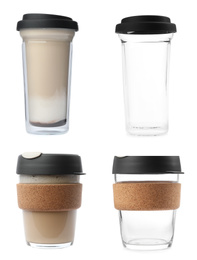 Set of glass takeaway coffee cups on white background
