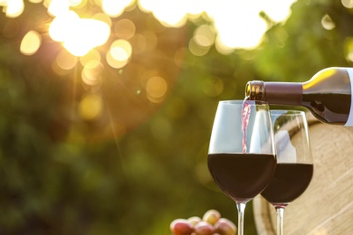 Pouring wine from bottle into glass outdoors, space for text