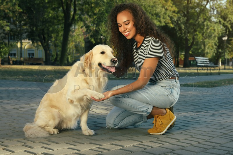 Young African-American woman and her Golden Retriever dog in park