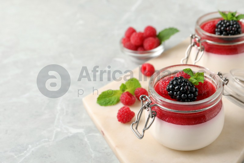 Delicious panna cotta with fruit coulis and fresh berries on light grey table. Space for text