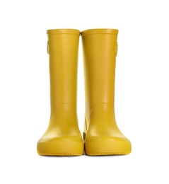 Modern yellow rubber boots isolated on white