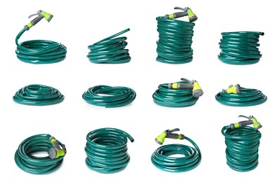 Set with green rubber watering hoses on white background