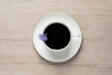 Cup of delicious chicory drink and flowers on light wooden table, top view
