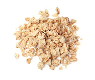 Pile of granola on white background, top view. Healthy snack