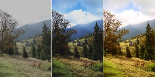 Photos before and after retouch, collage. Beautiful mountain landscape with conifer forest and village