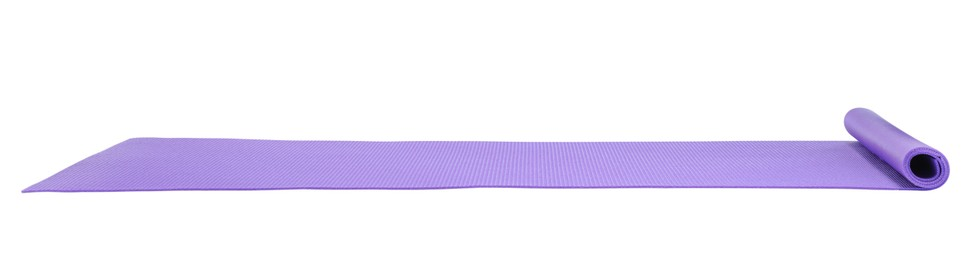 Violet camping mat isolated on white. Banner design