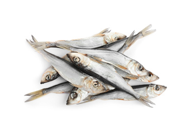 Tasty dried fish isolated on white, top view. Seafood
