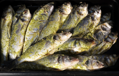 Fresh marinated fish in supermarket, top view
