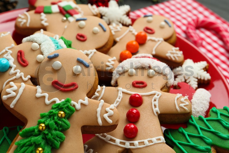 Delicious Christmas cookies and candy on table, closeup