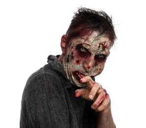 Scary zombie on white background. Halloween monster