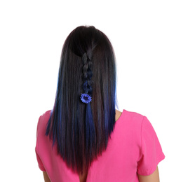 Young woman with bright dyed hair on white background, back view