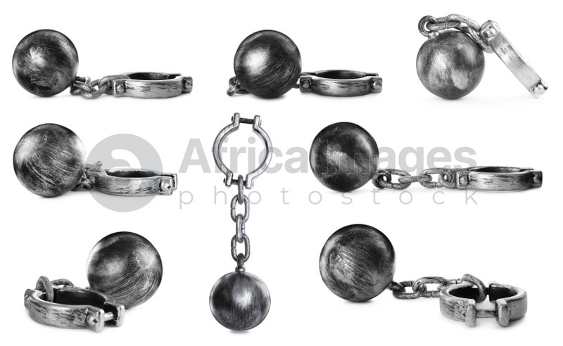 Set with metal balls and chains on white background