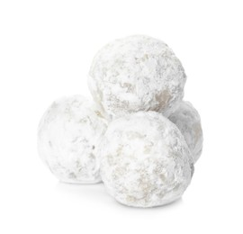 Pile of Christmas snowball cookies on white background