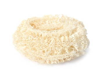 Natural shower loofah sponge isolated on white