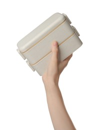 Woman holding eco friendly lunch boxes on white background, closeup. Conscious consumption