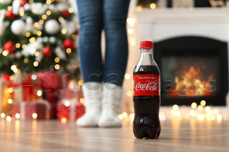 Coca Cola Christmas Bottle 2021 Mykolaiv Ukraine January 15 2021 Woman In Room Decorated For Christmas Focus On Coca Cola Bottle Stock Photo By Africa Images