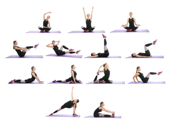 Collage of woman practicing yoga on white background