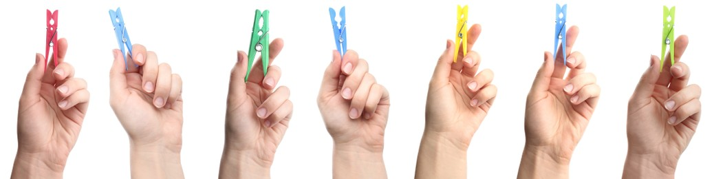 Collage with photos of women holding different bright clothespins on white background, closeup. Banner design