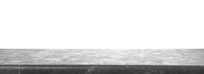 Empty grey stone surface isolated on white. Mockup for design
