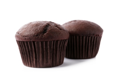 Delicious fresh chocolate cupcakes isolated on white