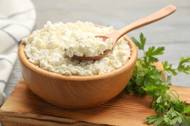 Delicious fresh cottage cheese and parsley on wooden board, closeup