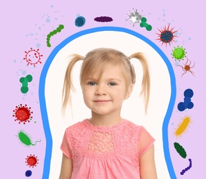 Strong immunity as shield protecting little girl from viruses and bacteria, illustration