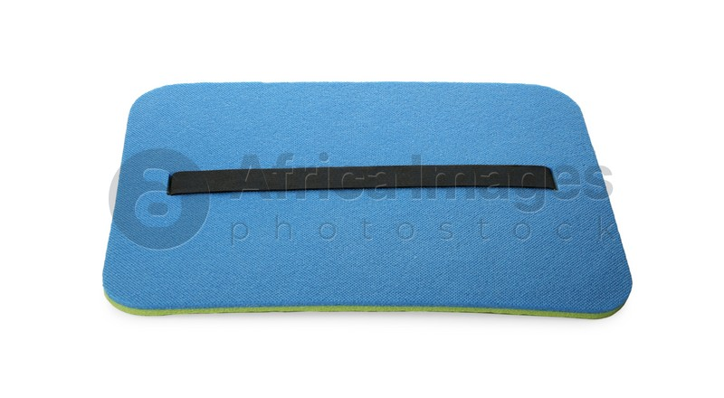 Blue foam seat mat for tourist isolated on white