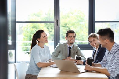 Office employees having business training at workplace