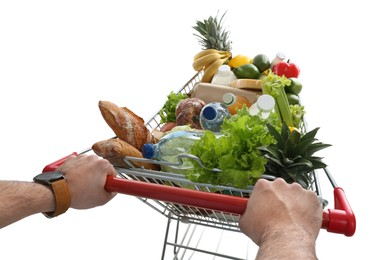 Man with shopping cart full of groceries on white background, closeup