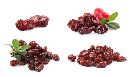 Collage with dried cranberries on white background