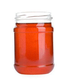Open glass jar of wildflower honey isolated on white