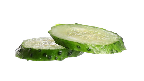 Juicy cucumber slices isolated on white. Sandwich ingredient