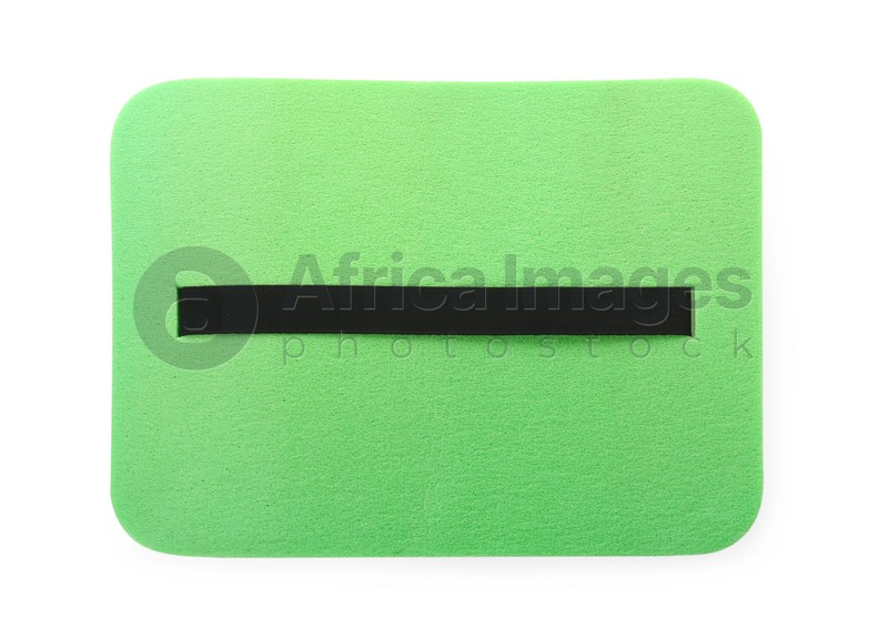 Green foam seat mat for tourist isolated on white, top view