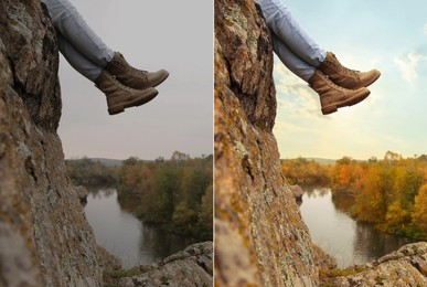 Photo before and after retouch, collage. Woman wearing stylish hiking boots on steep cliff, closeup