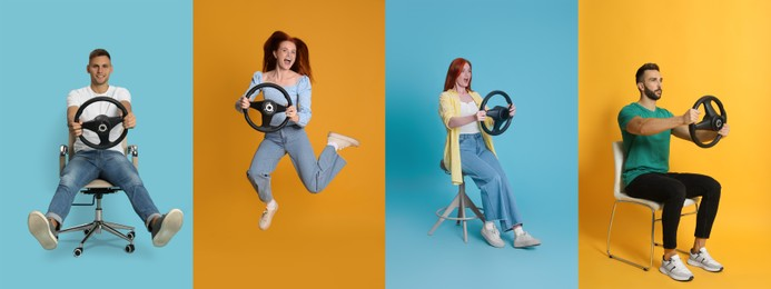 Emotional people with steering wheels on different color backgrounds, collage. Banner design