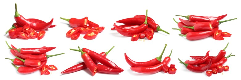 Set with ripe red chili peppers on white background. Banner design