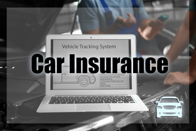 Laptop with vehicle tracking system and blurred mechanics on background. Car insurance